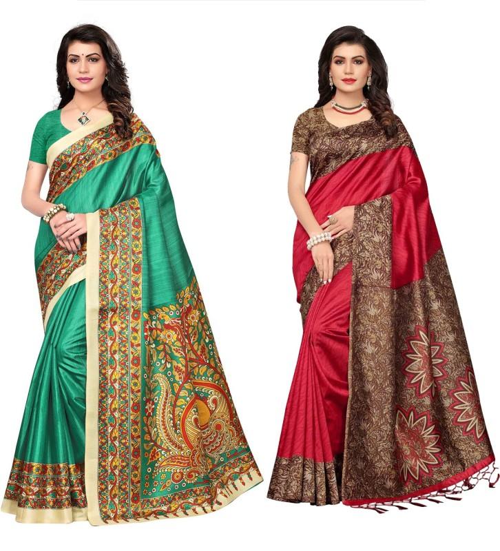 Ratnavati Printed Daily Wear Art Silk, Khadi Saree(Pack of 2, Maroon, Green)