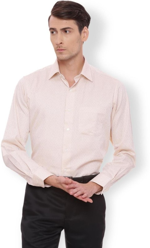 Van Heusen Men Self Design Formal Beige Shirt