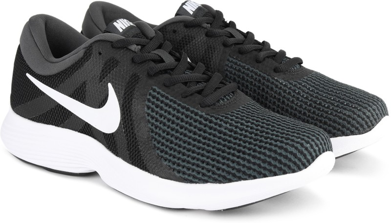Nike NIKE REVOLUTION 4 Running Shoes For Men(Black, Green)