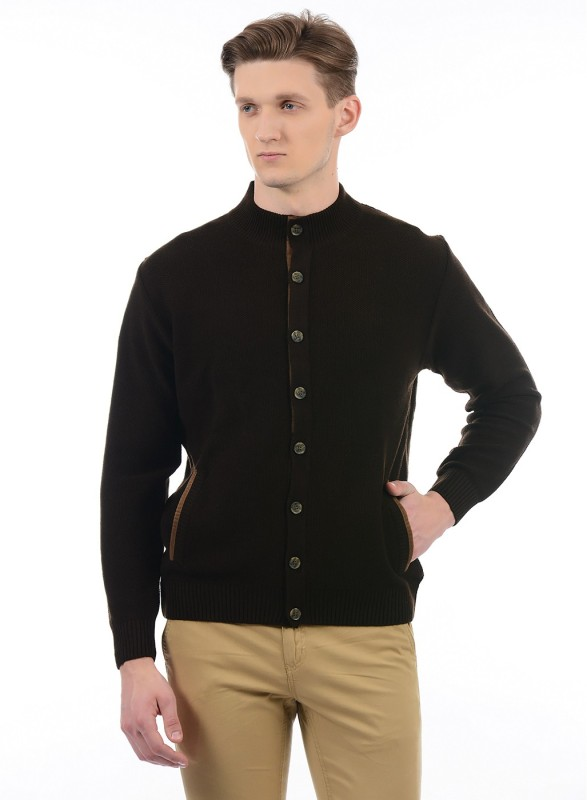 London Fog Solid Round Neck Casual Men's Brown Sweater