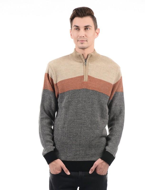 London Fog Self Design High Neck Casual Men's Grey Sweater
