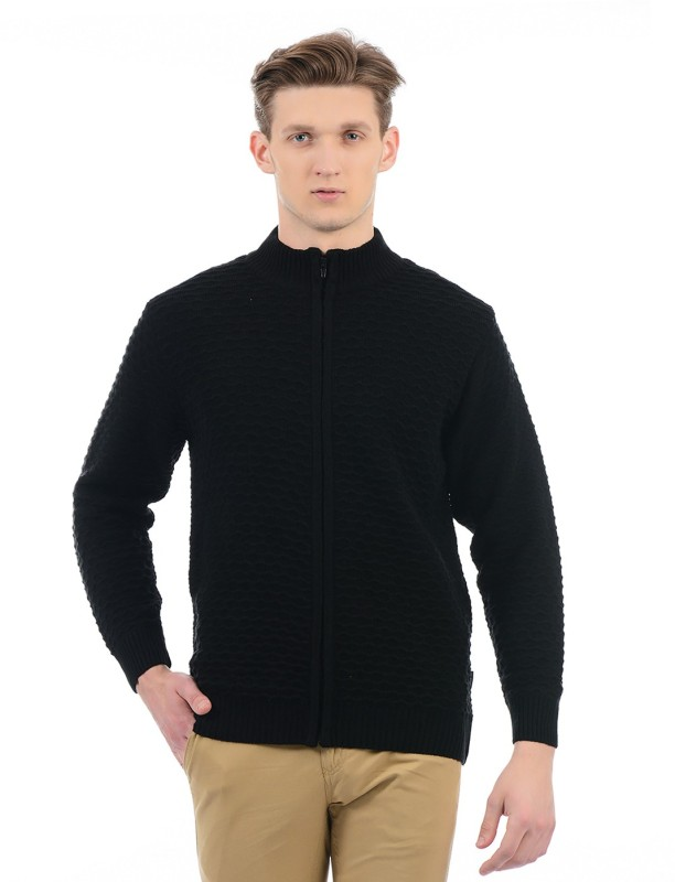 London Fog Solid High Neck Casual Men's Black Sweater