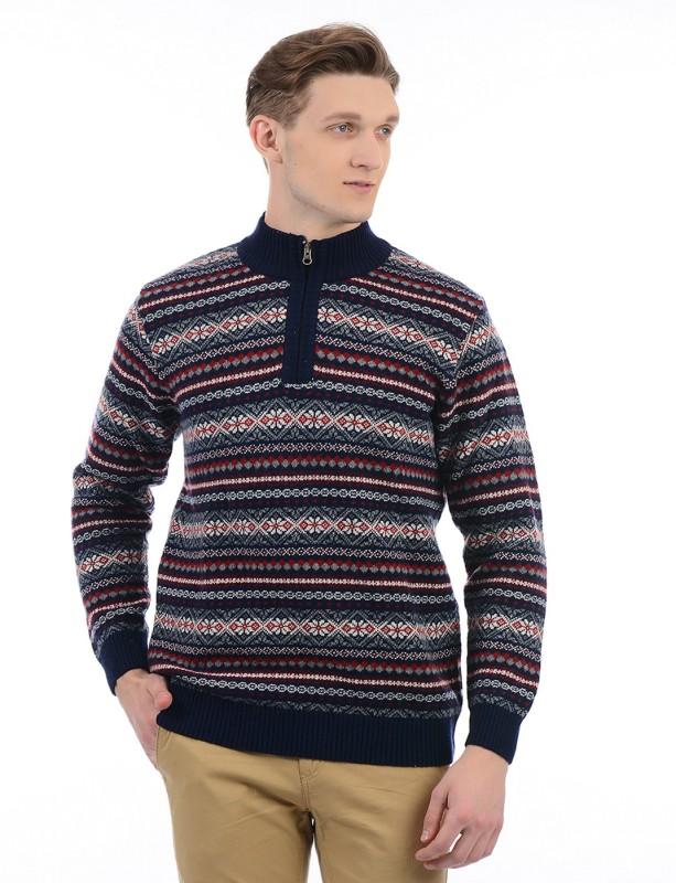 London Fog Self Design High Neck Casual Men's Dark Blue Sweater