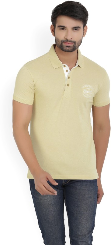 John Players Solid Mens Beige T-Shirt