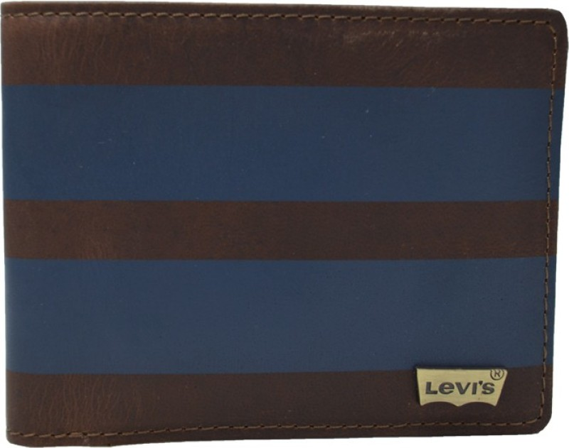 Levis Men Brown, Blue Genuine Leather Wallet(8 Card Slots)