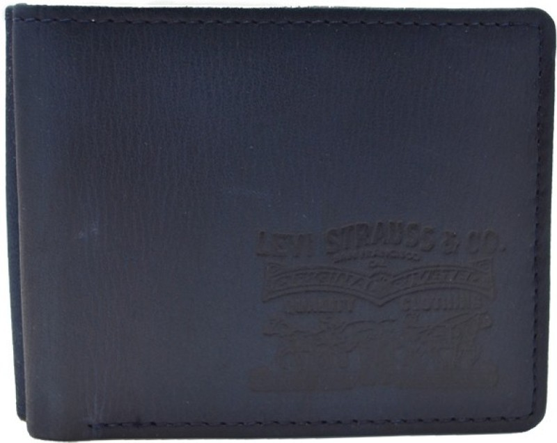 Levis Men Blue Genuine Leather Wallet(4 Card Slots)