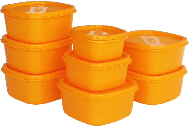 Princeware  - 4450 ml Plastic Grocery Container(Pack of 8, Orange)