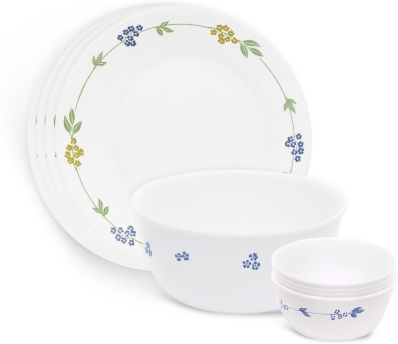 corelle Gift Set- Secret Garden Pack of 9 Dinner Set(Glass)