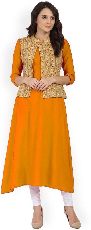 PAVITRA Women Solid Gown Kurta(Yellow)