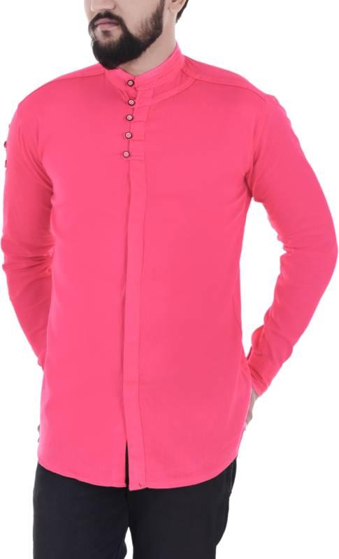 Duenite Men Solid Casual Pink Shirt