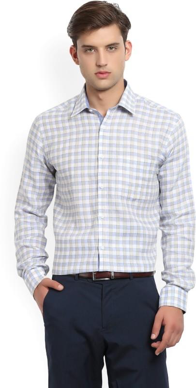 Park Avenue Men's Checkered Formal Beige, Blue Shirt