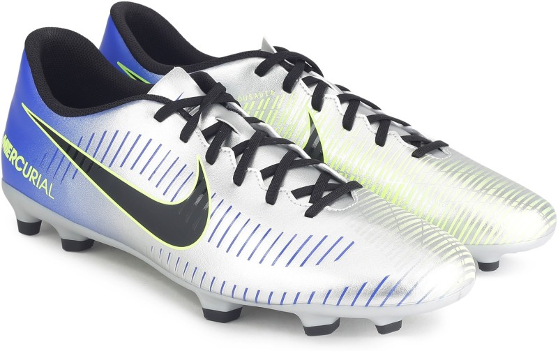 Nike MERCURIAL VORTEX III NJR FG Football Shoes For Men(Blue, Silver)