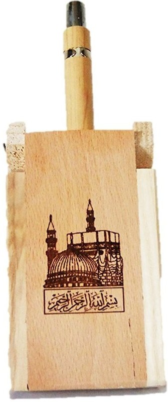 Glass Home Wooden pen stand, wit MECCA MADINA AND BISMILLAH. Wood carving...