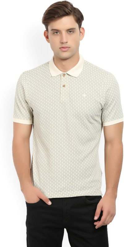 Louis Philippe Printed Mens Polo Neck Beige, Grey T-Shirt