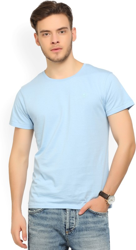 Wrangler Solid Mens Round Neck Light Blue T-Shirt