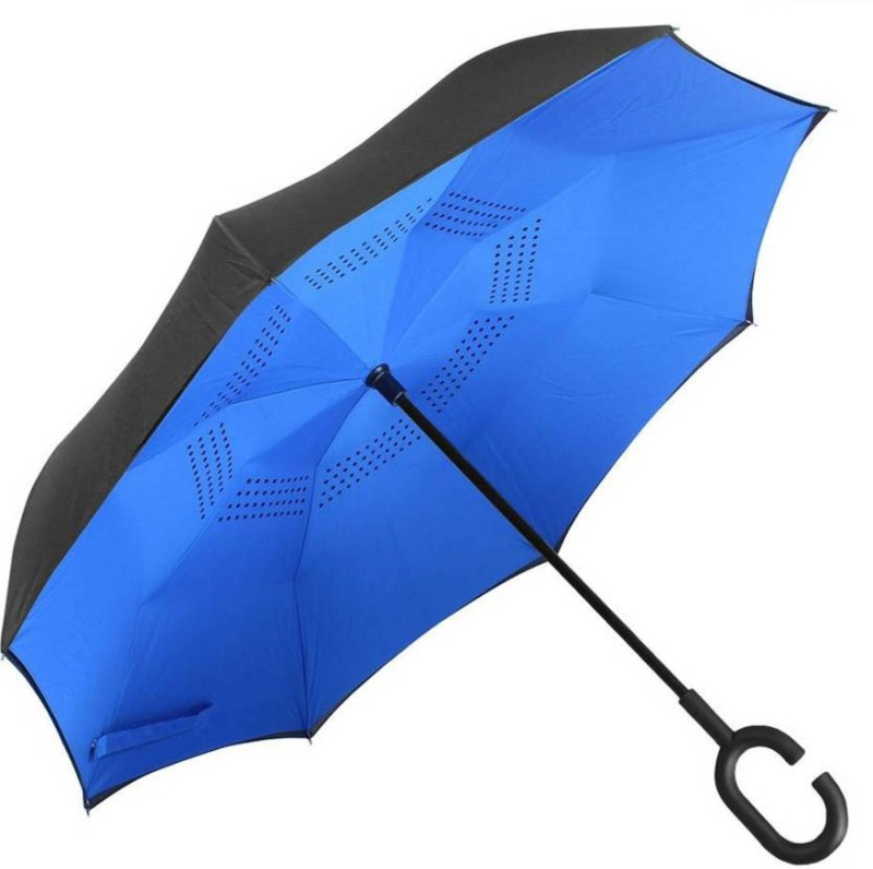 Felcon Double Layer Inverted Reversible No Drip with C shape Handle (BLUE) Umbrella(Blue)
