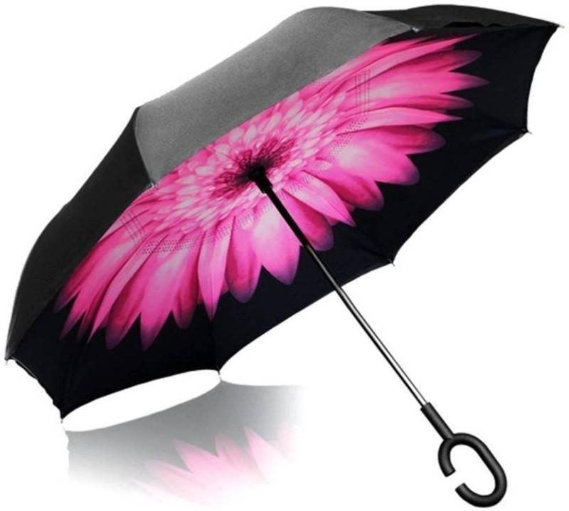 Felcon Inverted Umbrella Double Layer Wind Proof, UV Proof Reverse Folding Umbrella with C Shape Handle Umbrella (Pink) Umbrella(Pink)