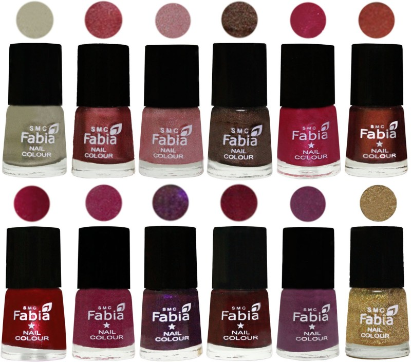 Fabia Premium Shine & Glossy Nail Polish Collection Shades (12 Pcs Combo) Oyster-Nude Pink-Light pink-Dark Brown-Cherry Pink-Berry-Dark Magenta-Rose Pink-Dark Purple-Royal Red-Brinjal Purple-Light Golden(Pack of 12)