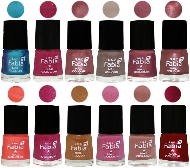 Fabia Premium Collection 12 Piece Color Nail Polish Shades Denim-Hot Magenta-Lip-Light Beige-Dusty Pink-Dark Red Chrome-Peach-Light Magenta-Golden -Light Plum-Nude-Dark Magenta(Pack of 12)