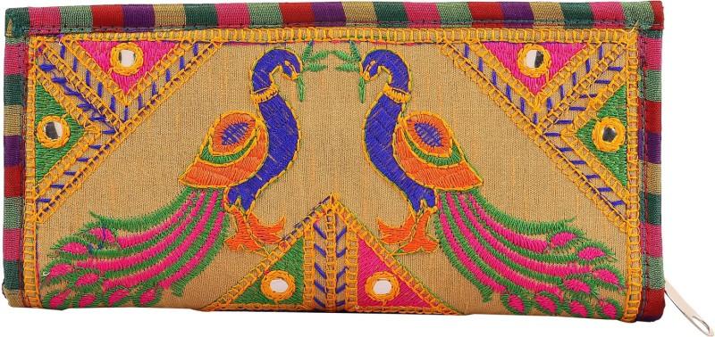 Craft Trade Handmade Designer Rajasthani Worked Clutch Bag for Women Cream Pouch(Beige)