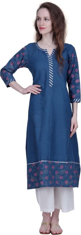 The Kala Shop Cotton Slub A Line Royal Blue Kurti With Off White Palazzo Printed Women Suit