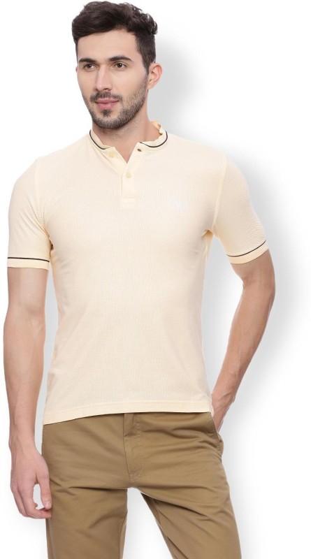 Van Heusen Solid Men Round Neck Beige T-Shirt
