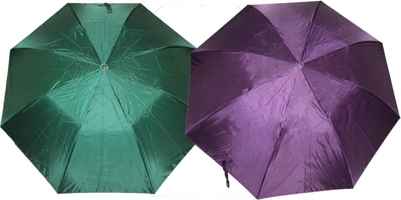 K.C Paul Soumi 2 Fold Umbrella(Green, Purple)