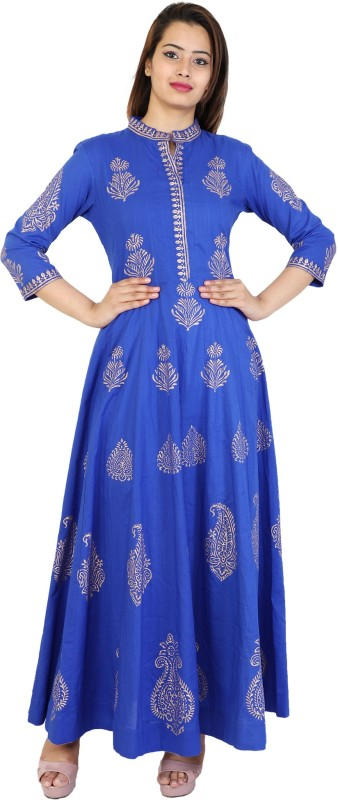 Metro Fashion Women Block Print Flared Kurta(Blue)