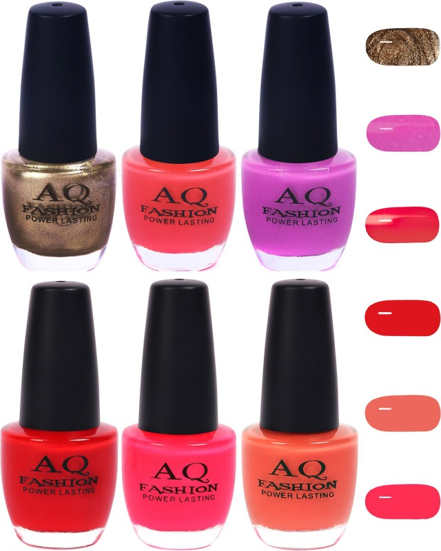 AQ Fashion Funky Vibrant Range of Colors Nail polish Lemony Grey,Pink,Violet,Neon Red,Neon Pink,Peach(Pack of 6)