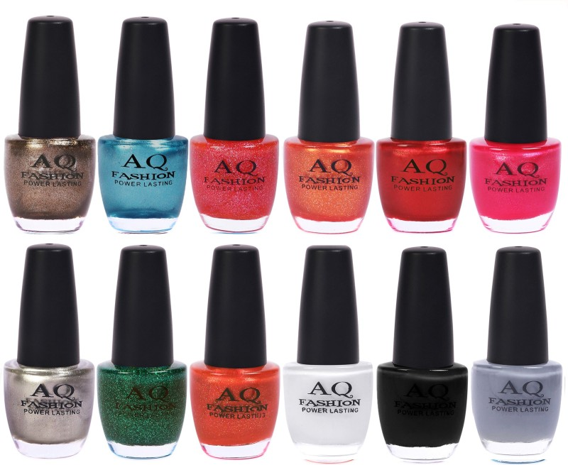 AQ Fashion in New 12 Beautiful colors nail polish Combo Set No.236 Multicolor(Pack of 12)