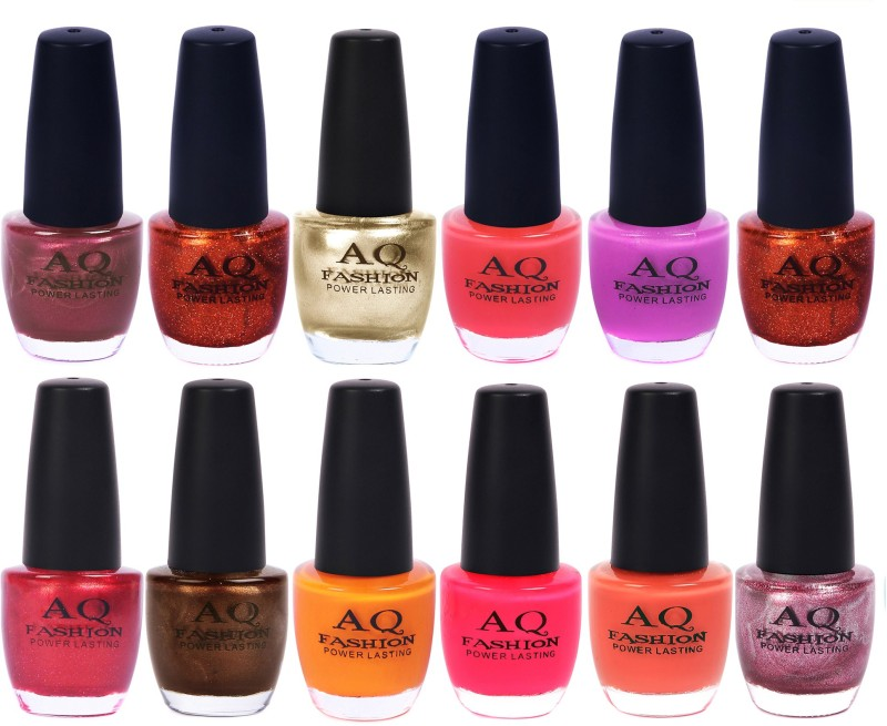 AQ Fashion in New 12 Beautiful colors nail polish Combo Set No.249 Multicolor(Pack of 12)