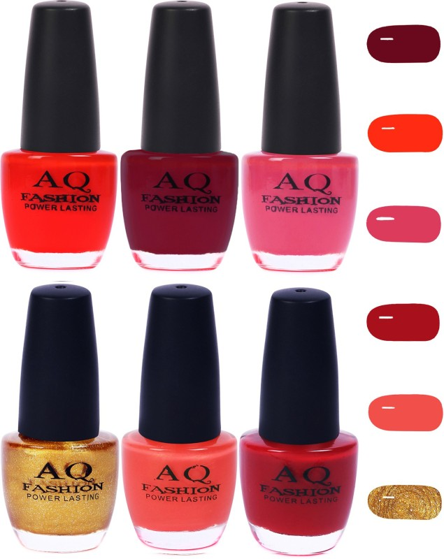 AQ Fashion Funky Vibrant Range of Colors Nail polish Neon Red,Mauve,Violet Pink,Golden,Pink,Maroon(Pack of 6)