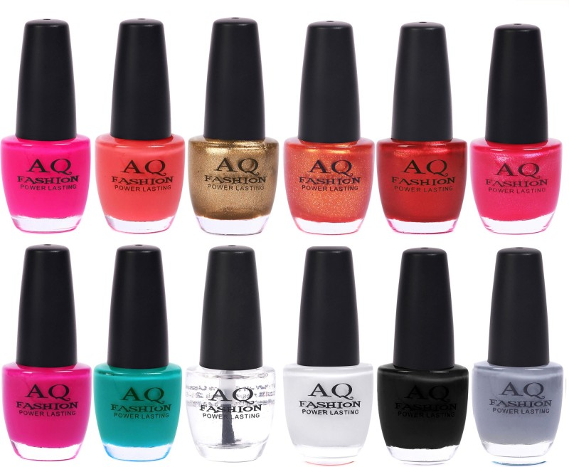 AQ Fashion in New 12 Beautiful colors nail polish Combo Set No.205 Multicolor(Pack of 12)