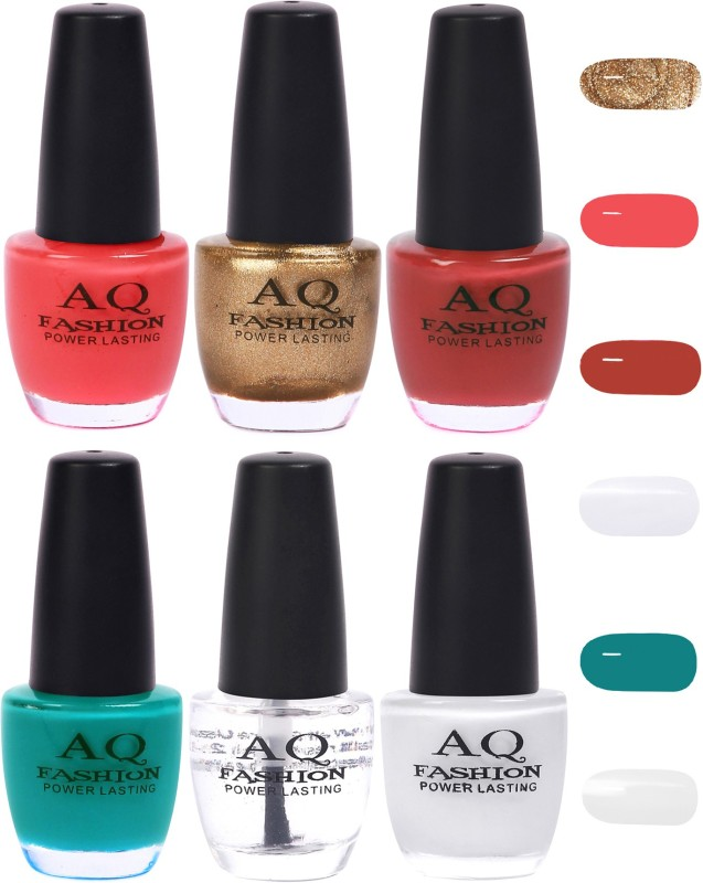 AQ Fashion Funky Vibrant Range of Colors Nail polish Pink,Golden,Mauve,Tuquoise,Transparent,White(Pack of 6)