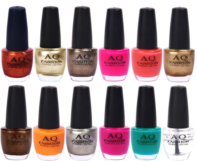 AQ Fashion in New 12 Beautiful colors nail polish Combo Set No.207 Multicolor(Pack of 12)