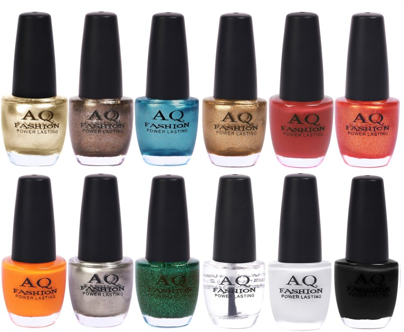AQ Fashion in New 12 Beautiful colors nail polish Combo Set No.204 Multicolor(Pack of 12)