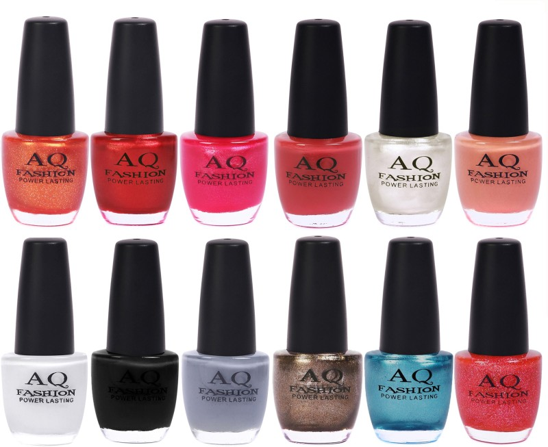 AQ Fashion in New 12 Beautiful colors nail polish Combo Set No.212 Multicolor(Pack of 12)