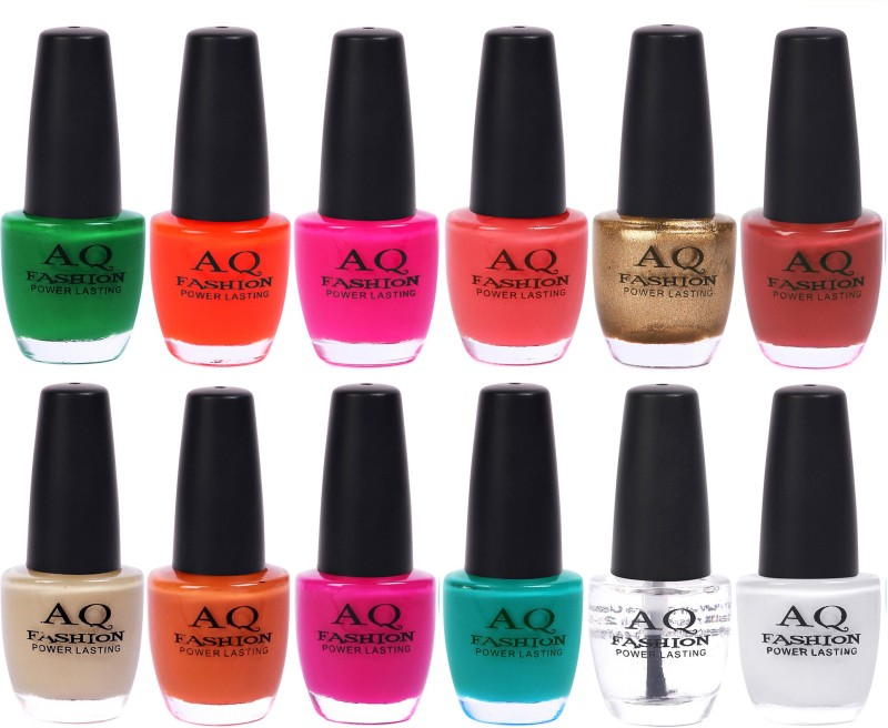 AQ Fashion in New 12 Beautiful colors nail polish Combo Set No.233 Multicolor(Pack of 12)