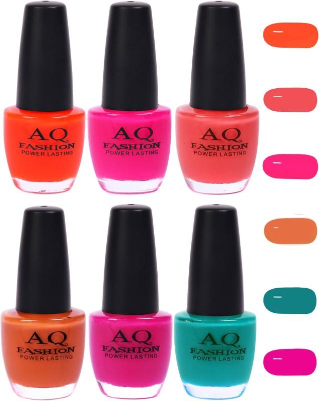 AQ Fashion Funky Vibrant Range of Colors Nail polish Orange,Neon Mazenta,Pink,Peach,Mazenta,Turquoise(Pack of 6)