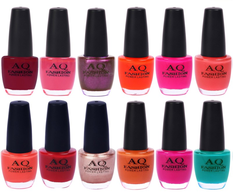 AQ Fashion in New 12 Beautiful colors nail polish Combo Set No.206 Multicolor(Pack of 12)