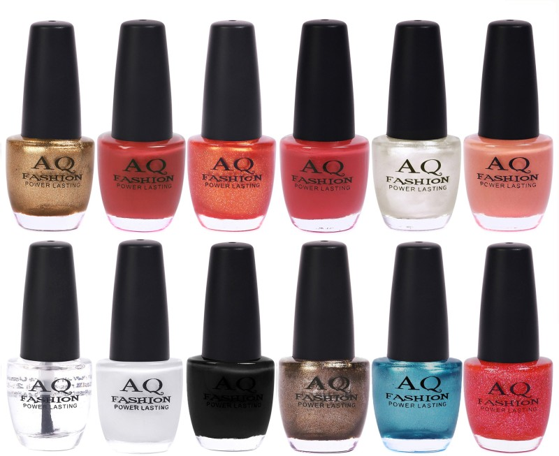 AQ Fashion in New 12 Beautiful colors nail polish Combo Set No.227 Multicolor(Pack of 12)
