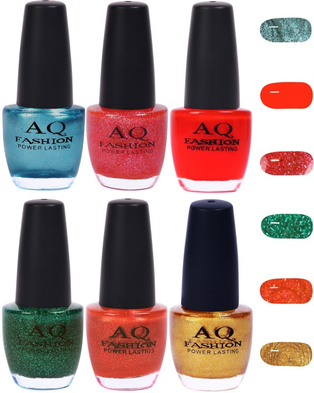 AQ Fashion Funky Vibrant Range of Colors Nail polish Firozy Blue,Pinkish Shimmer,Sunset Red,Shimmer Green,Peaches Orange,Golden(Pack of 6)