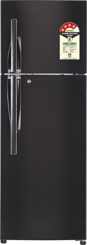 LG 335 L Frost Free Double Door 4 Star Refrigerator(Black Steel, GL-T372JBLN)