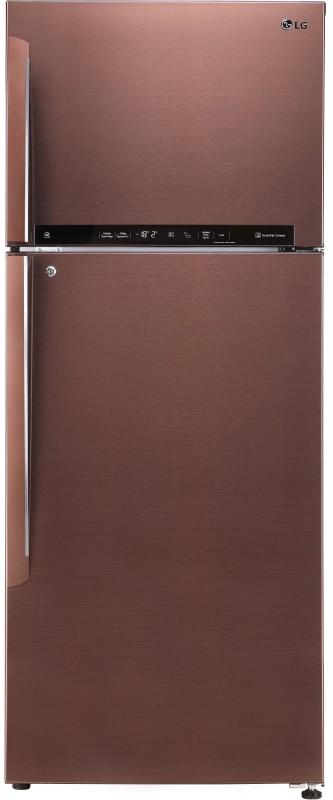 LG 475 L Frost Free Double Door 4 Star Refrigerator(Amber Steel, GL-T502FASN)