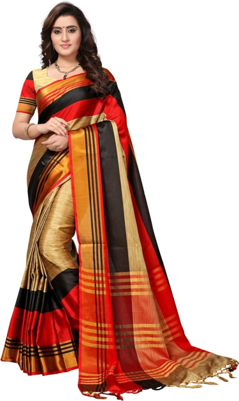 Saara Striped Fashion Poly Silk Saree(Beige, Red, Black)