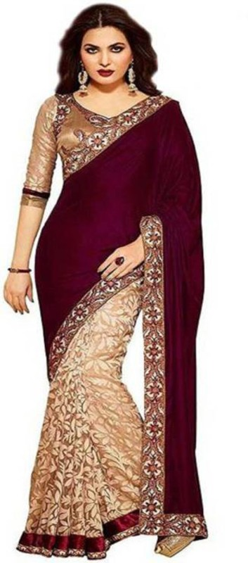 Maxthon Fashion Embroidered Bollywood Velvet, Brasso Saree(Maroon, Cream)