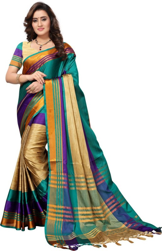 Saara Striped Fashion Poly Silk Saree(Beige, Green, Purple)