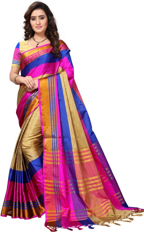 Saara Striped Fashion Poly Silk Saree(Beige, Pink, Blue)