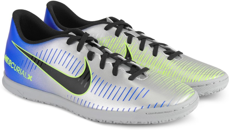 Nike MERCURIALX VORTEX III NJR IC Football Shoes For Men(Blue, Silver)
