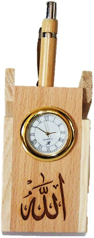 Glass Home Wooden pen stand,with QUARTZ CLOCK and ALLAH design. Wood carving...